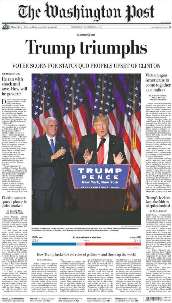 """""""Triunfa Trum. Escarnio de los votantes por el status quo impulsa derrota de Clinton."""""""