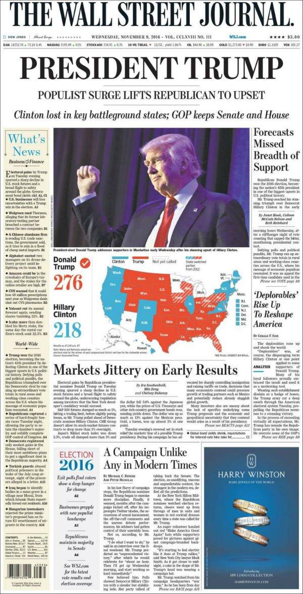 """""""Presidente Trump. Arrebato populista llevan al republicano a la victoria."""""""